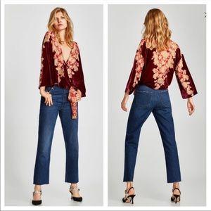 Zara velvet kimono style wrap top blouse Sz S NWT